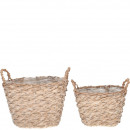 Planter bucket Renita set of 2, with handle, wit
